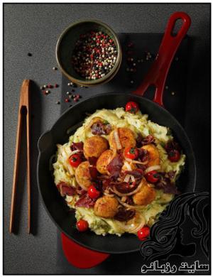 خوراک پوره نخود فرنگی همراه با کوفته مرغ