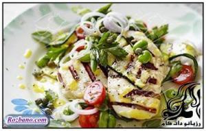 سالاد پنیر و سبزیجات کباب شده
