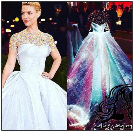 لباس درخشان کلیر دینز در مراسم مت گالا 2016
