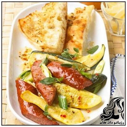 خوراک سوسیس و کدو