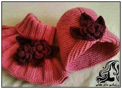 راهنمای بافت کلاه و شال گردن دخترانه