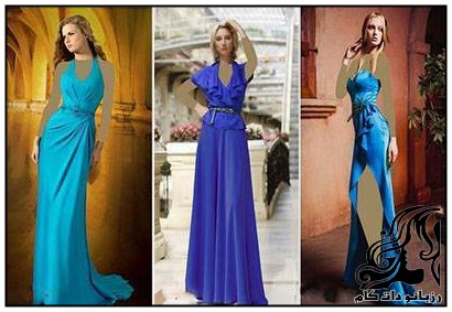 لباس مجلسی حریر رنگ آبی برند lyalina