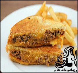 خوراک لقمه ای گوشت و پنیر