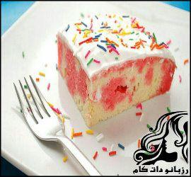 طرز تهیه ژله کیک دو رنگ