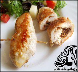 طرز تهیه رولت مرغ و قارچ پنیری