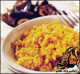 طرز تهیه برنج رنگی با پنیر