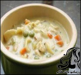 طرز تهیه سوپ خامه ای مرغ و برنج