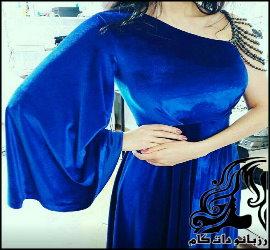 آموزش دوخت لباس مجلسی آبی رنگ