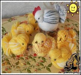 آموزش ساخت مرغ و جوجه کاموایی
