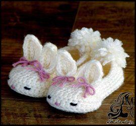 آموزش بافت پاپوش نوزادی قلاب بافی طرح خرگوشی