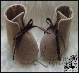 آموزش دوخت کفش نمدی بسیار زیبا برای نوزاد