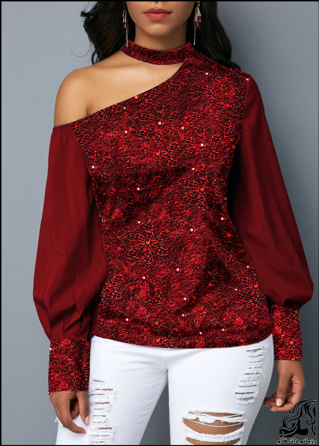 http://up.rozbano.com/view/2753197/Lantern%20Sleeve%20Cutout%20Shoulder%20Shining%20Blouse-03.jpg