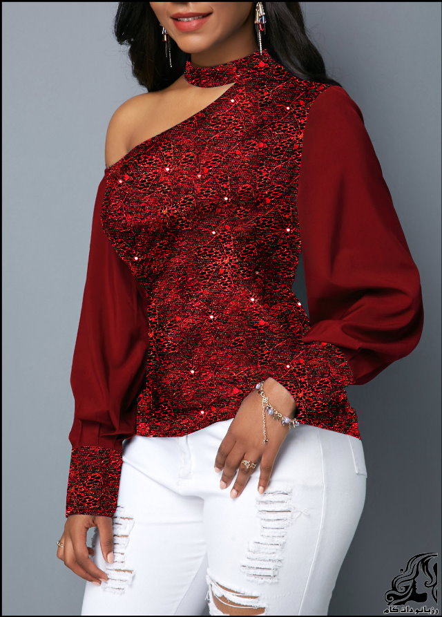 http://up.rozbano.com/view/2753198/Lantern%20Sleeve%20Cutout%20Shoulder%20Shining%20Blouse-04.jpg