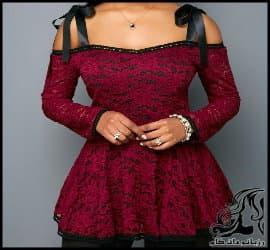 لباس مجلسی کوتاه زنانه شانه بلند و آستین توری