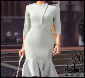 رسم الگو لباس مجلسی بدن نما دکمه دار زنانه