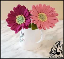 آموزش تصویری ساخت گل نمدی ژربرا