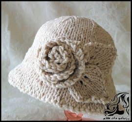 آموزش بافت کلاه کودک با طرح گل رز