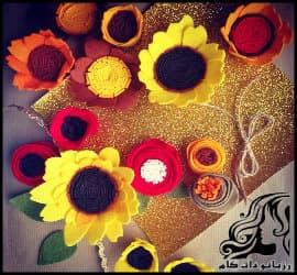 آموزش ساخت گل آفتابگردان نمدی