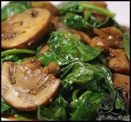 آموزش آشپزی | طرز تهیه خوراک اسفناج و قارچ