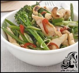 طرز تهیه ی سالاد اسپایسی مرغ به همراه سبزیجات تازه