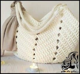 بافتنی و آموزش بافت کیف زنانه قلاب بافی به صورت تصویری