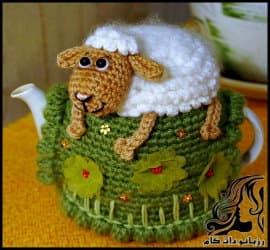 بافتنی و آموزش بافت روقوری فانتزی گوسفند مزرعه