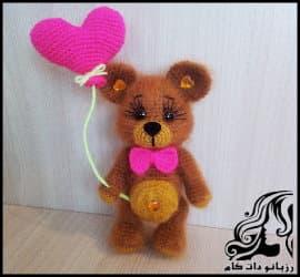 آموزش بافت رج به رج عروسک خرس ولنتابن