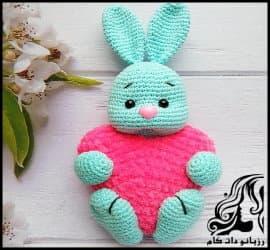 آموزش تصویری بافت عروسک خرگوش قلبی برای ولنتاین