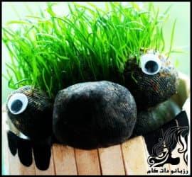 آموزش گام به گام کاشت سبزه عید به شکل عروسک