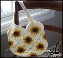 بافتنی و آموزش بافت کیف زنانه به کمک موتیف گل آفتابگردان