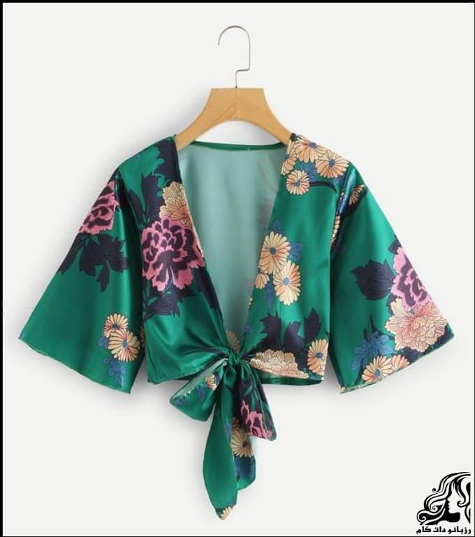 خیاطی و آموزش رسم الگو خیاطی کیمونو سبز رنگ  شومیزیه مجلسی زنانه