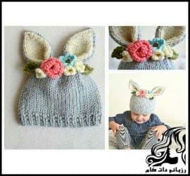 بافتنی و آموزش بافت کلاه خرگوش با گل تزئینی