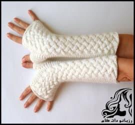 بافتنی و آموزش بافت دستکش با پیچ حصیری
