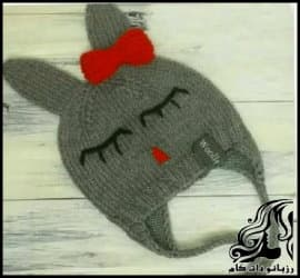 بافتنی و آموزش بافت کلاه مدل خرگوش خواب آلو نوزادی