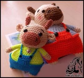 عروسک بافی و آموزش بافت عروسک گاو به همراه فیلم