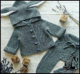 بافتنی و آموزش بافت ژاکت کلاهدار خرگوشی کودک