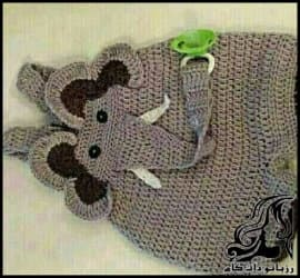 بافتنی و آموزش بافت سرهمی نوزادی به شکل فیل
