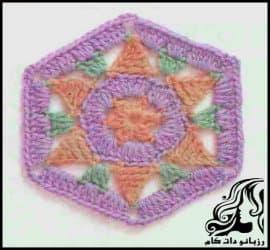 بافتنی و آموزش بافت موتیف شش ضلعی زیبا